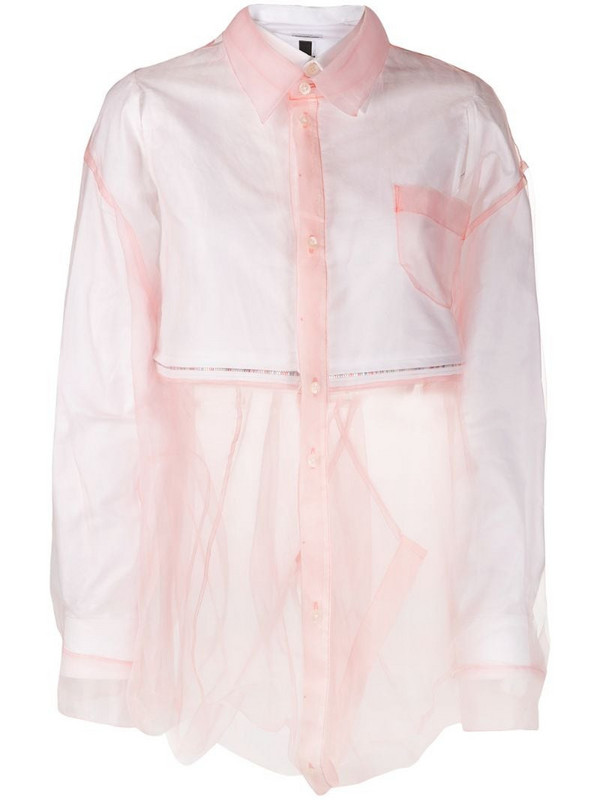 Facetasm layered button shirt in pink