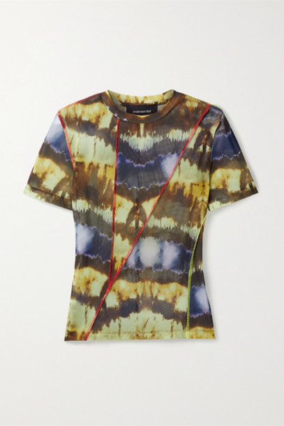 Andersson Bell - Paneled Tie-dyed Stretch-mesh T-shirt - Blue