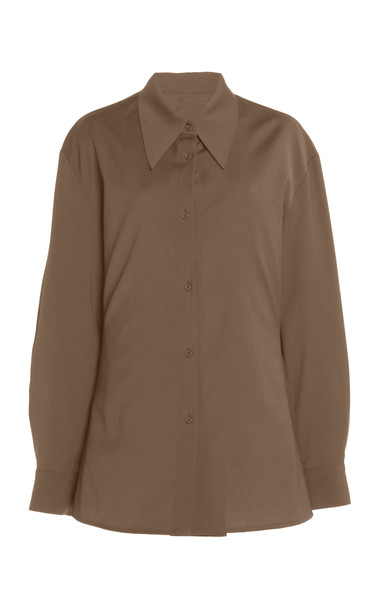 Low Classic Wool Button-Down Shirt in neutral