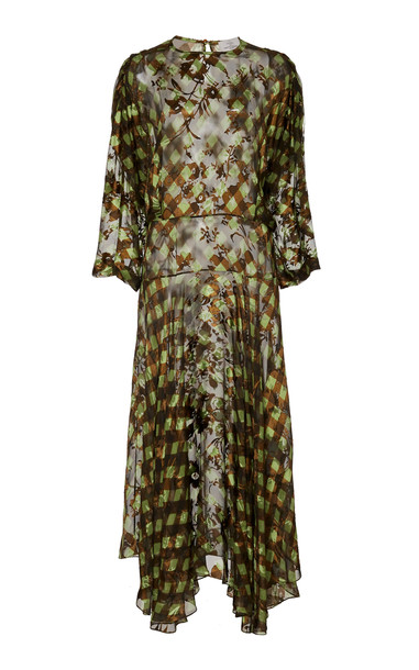 Preen by Thornton Bregazzi Brooke Sheer Jacquard Midi Dress in multi