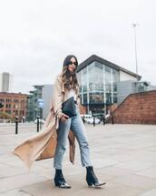 coat,trench coat,oversized coat,long coat,asos,ankle boots,black boots,cowboy boots,topshop,straight jeans,high waisted jeans,black bag,white top