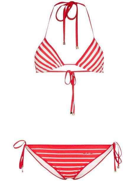 Valentino stripe triangle bikini set in red