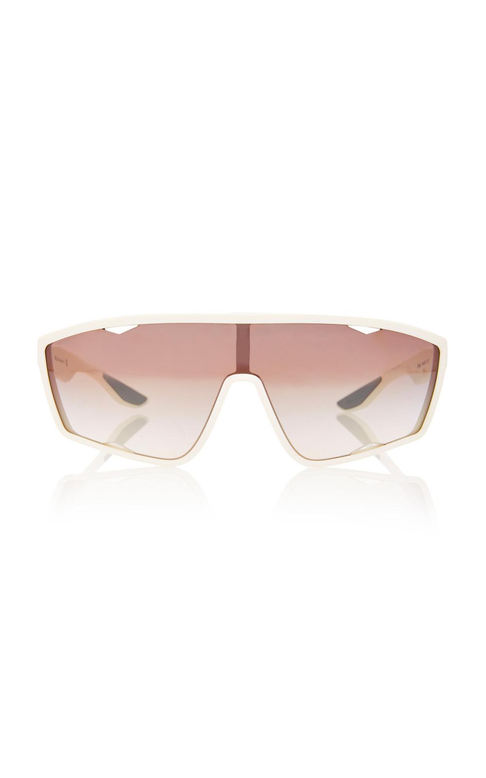 Prada Linea Rossa Square-Frame Acetate Sunglasses in white