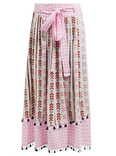 Dodo Bar Or - Antonella Embroidered Cotton Skirt - Womens - Pink Multi