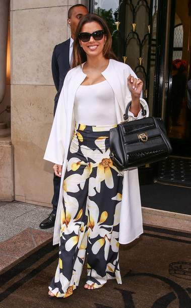 pants top bodysuit eva longoria floral floral pants white top coat white coat spring outfits cannes