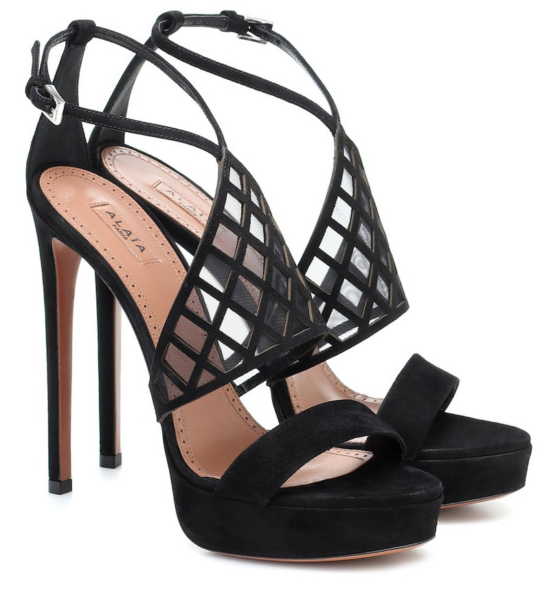 Alaïa Mesh-trimmed suede platform sandals in black