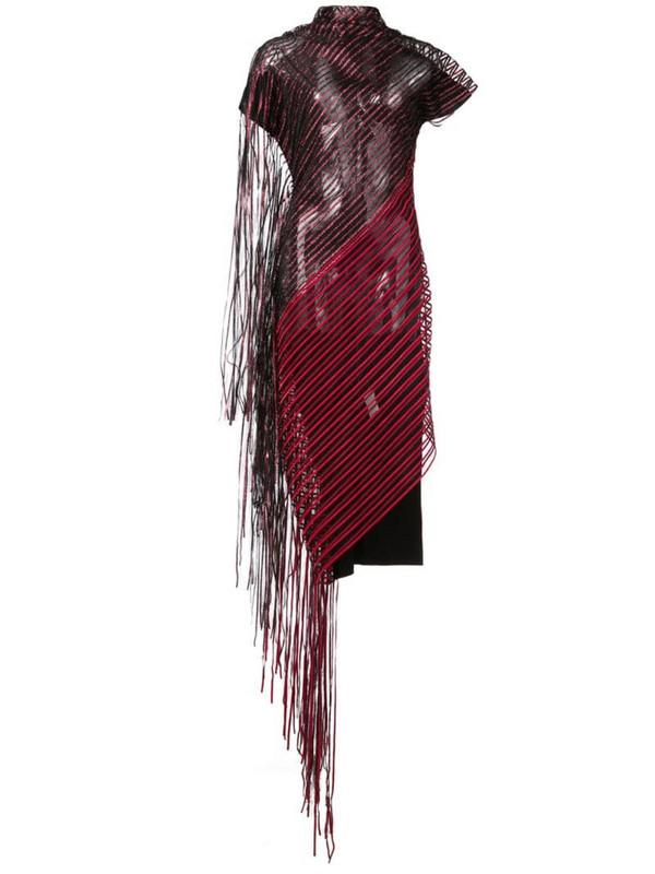 Paula Knorr sheer fringed dress in black