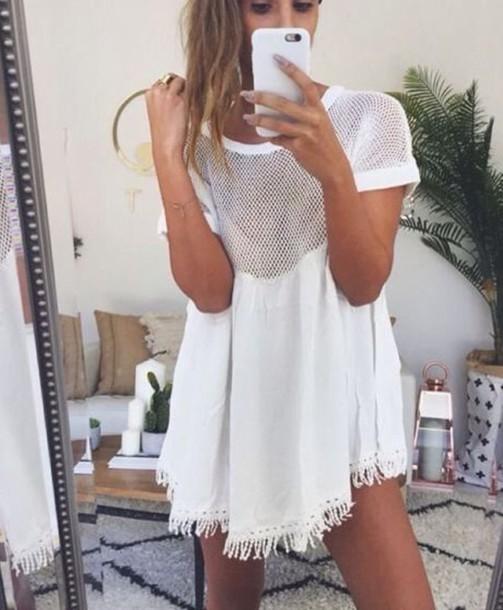 dress shirt white t-shirt white dress swim cover white top fringes mesh boho trendy