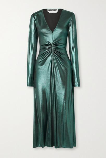 ROTATE Birger Christensen - Ruched Stretch-lamé Midi Dress - Emerald