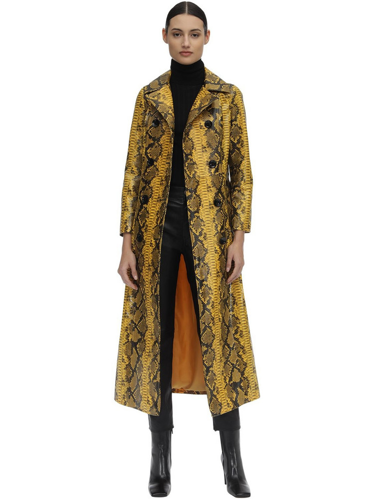 STAND Sasha Printed Faux Leather Trench Coat in yellow