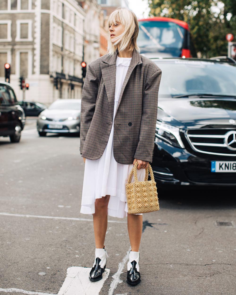bag gold bag pearl cowboy boots black and white ankle boots white dress midi dress asymmetrical dress plaid blazer
