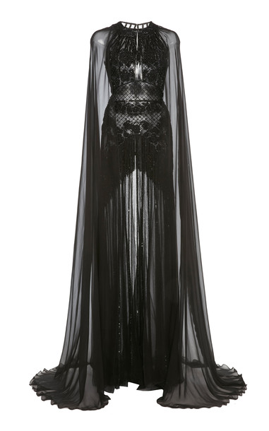 Zuhair Murad SpecialOrder - Embellished Cape-Sleeve Silk-Chiffon Gown in black