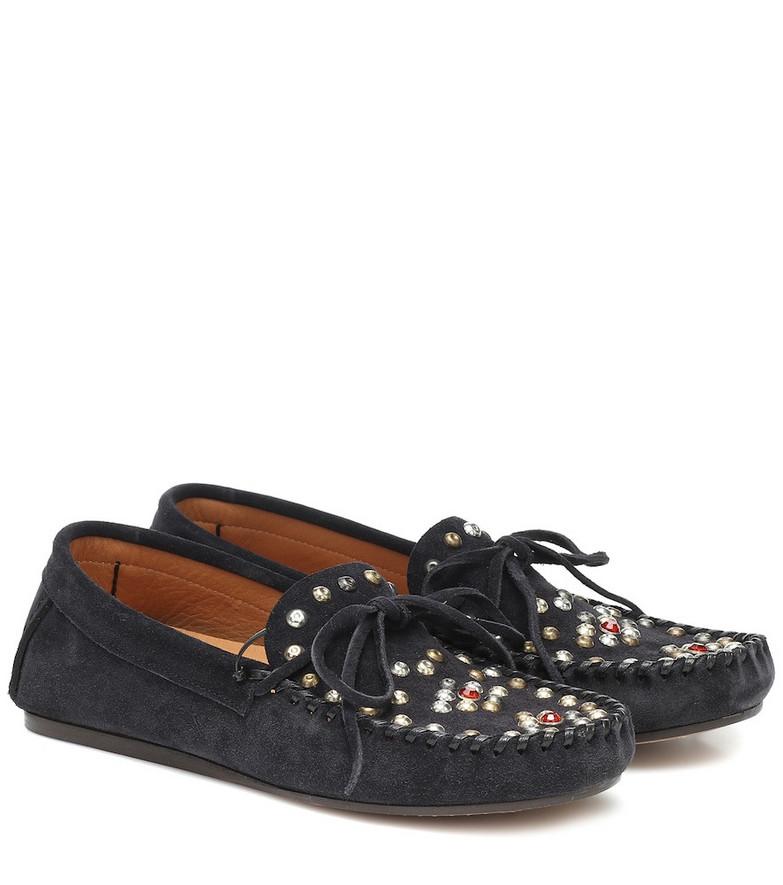 Isabel Marant Foggia embellished suede moccasins in black