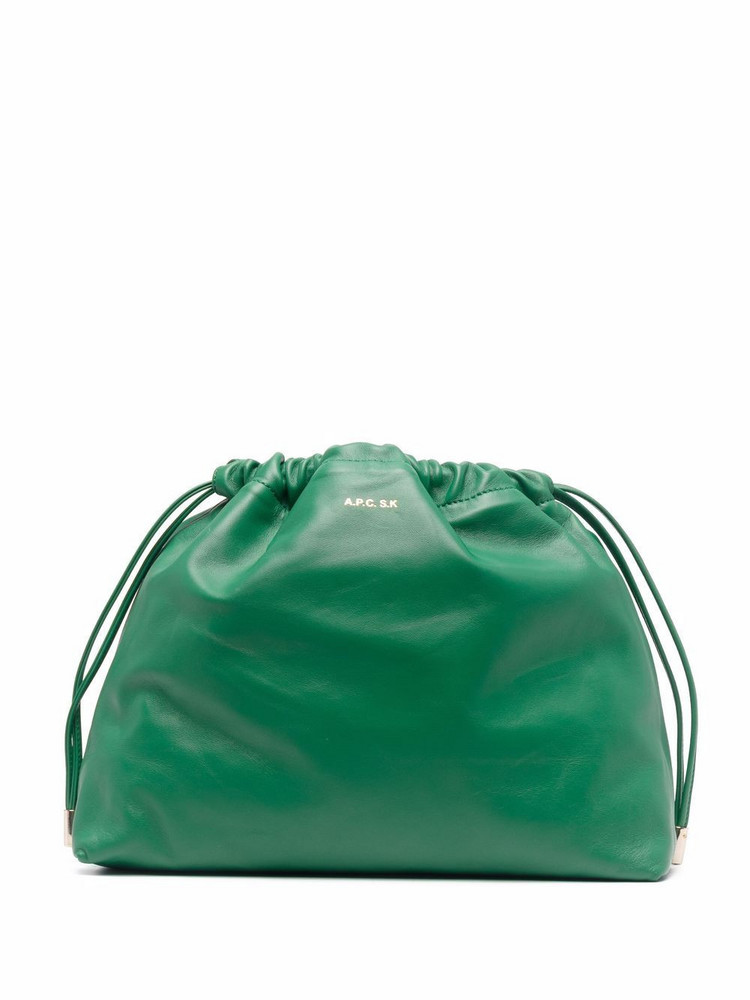 A.P.C. A.P.C. drawstring leather clutch bag - Green