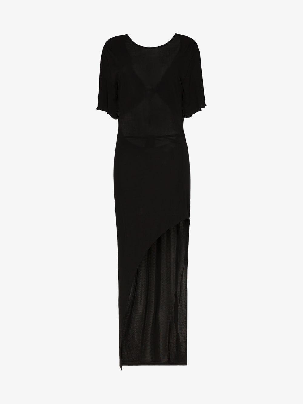 Faith Connexion Semi sheer asymmetric hem dress in black