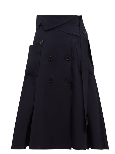 Golden Goose - Makiko Buttoned Twill Midi Skirt - Womens - Navy