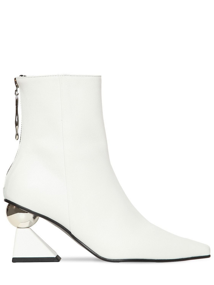 YUUL YIE 70mm Amoeba Leather Ankle Boots in white