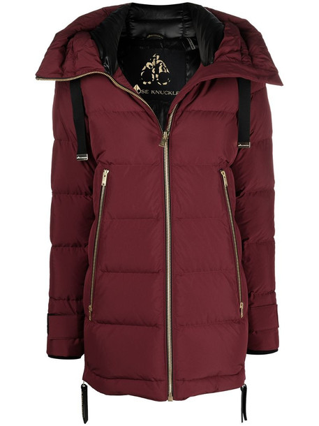 Moose Knuckles puffer hooded jacket in red