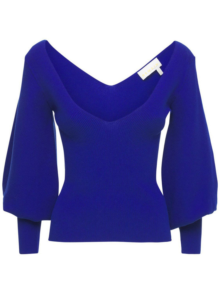 REMAIN Cosette Viscose Blend Ribbed Top in blue