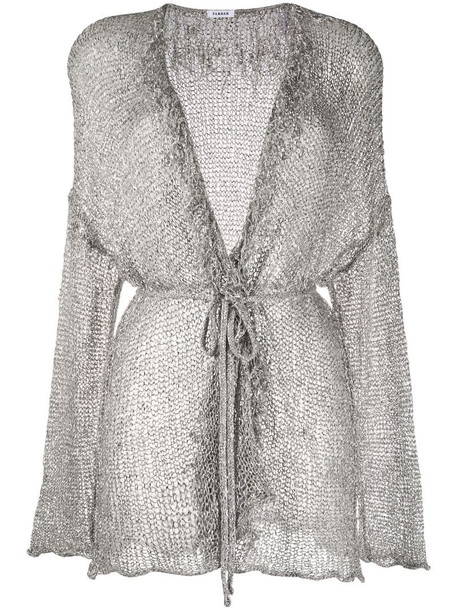 P.A.R.O.S.H. V-neck metallic knit cardigan in silver