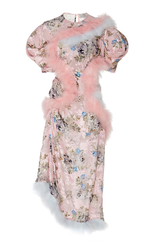 Preen by Thornton Bregazzi Nataline Feather Embellished Midi Dress in pink