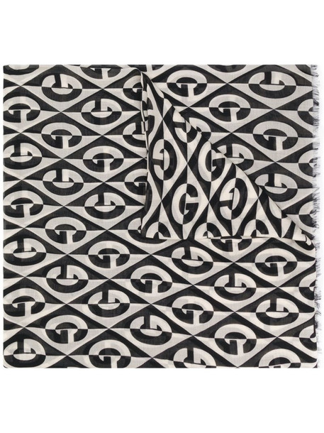 Gucci logo printed scarf in black