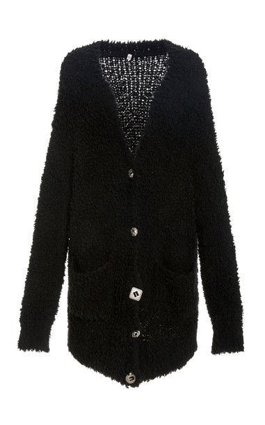 R13 Teddy Bear Oversized Distressed Chenille Cardigan in black