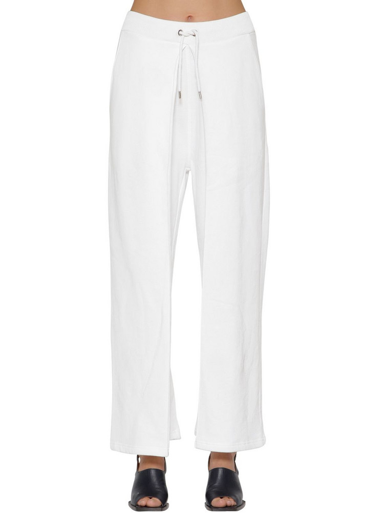 AALTO Pleated Cotton Sweatpants W/ Drawstring in white