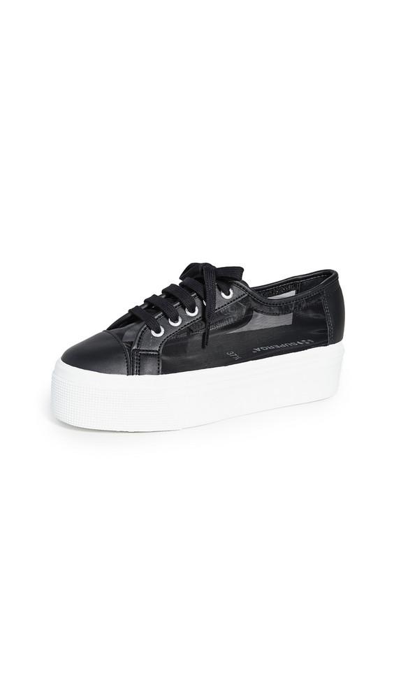 Superga 2790 Mesh Platform Sneakers in black / white