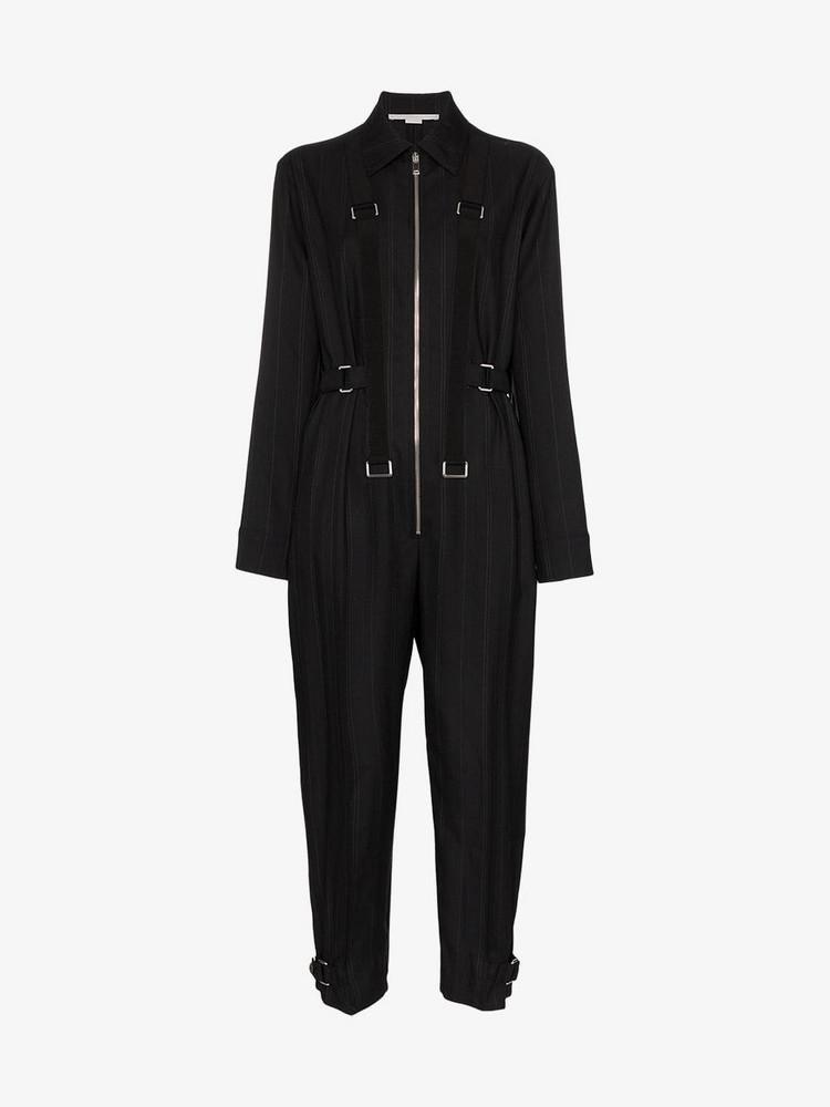 Stella McCartney Pinstripe buckle detail jumpsuit in black