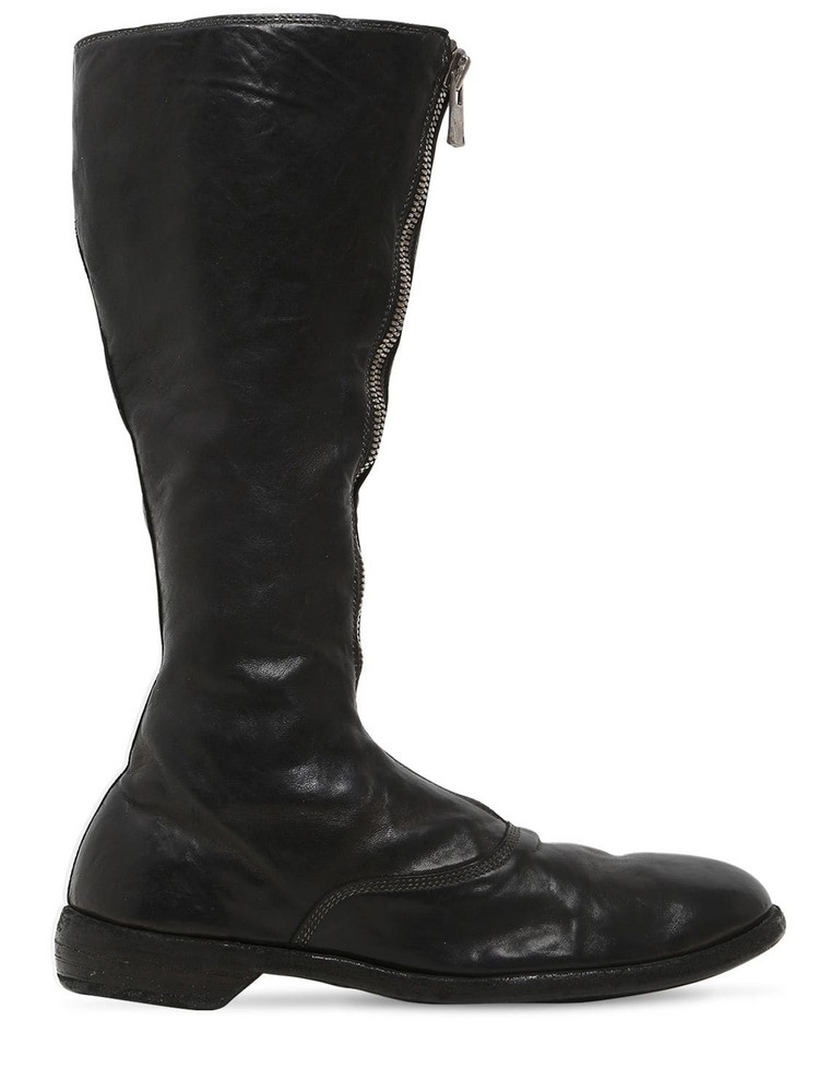 GUIDI 20mm 410 Zip-up Leather Army Boots in black