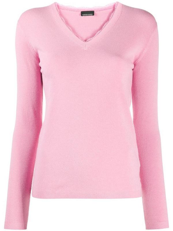 Ermanno Ermanno V-neck knitted top in pink