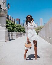 dress,white dress,blazer dress,pumps,bag