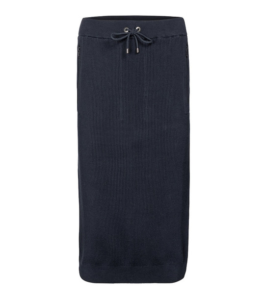 Brunello Cucinelli Ribbed-knit cotton midi skirt in blue