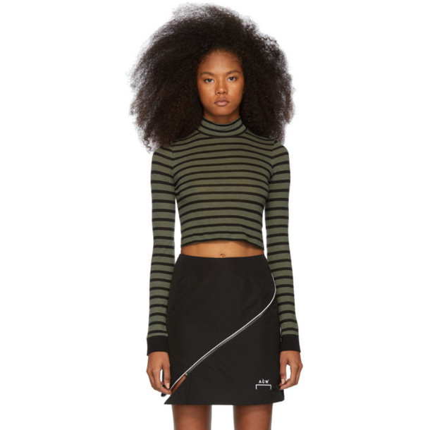 alexanderwang.t Khaki Striped Slub Mock Neck Sweater