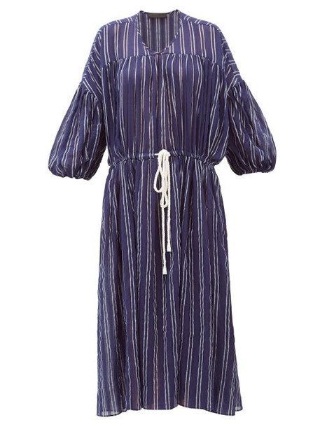 Love Binetti - Balloon-sleeve Striped Cotton Dress - Womens - Navy Stripe