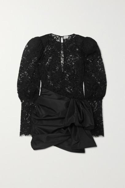 Magda Butrym - Matera Panelled Lace And Gathered Taffeta Mini Dress - Black