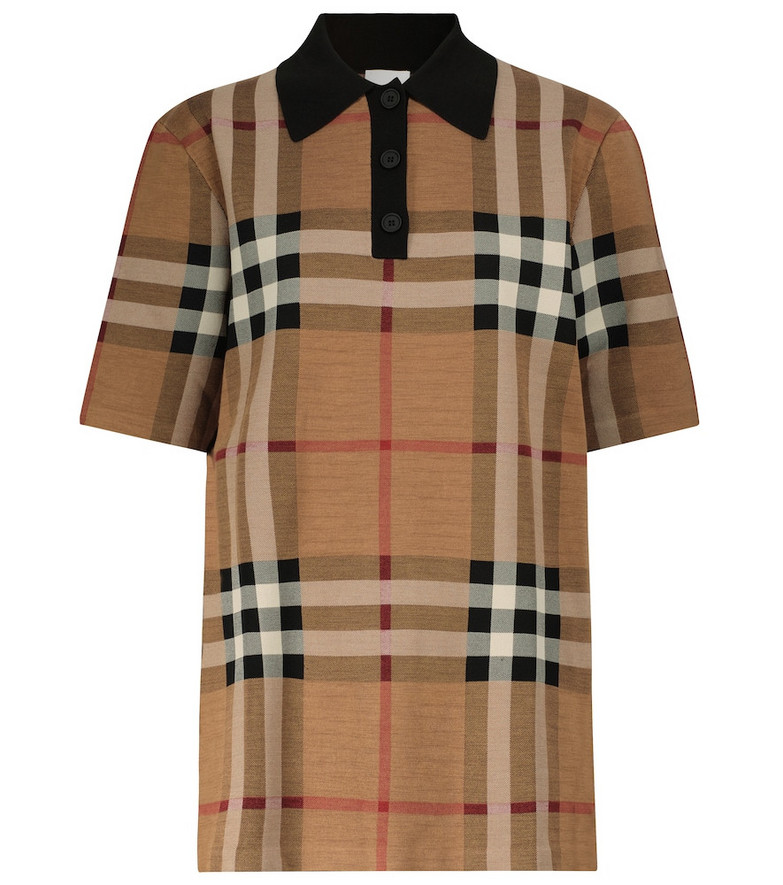 Burberry Checked polo shirt in brown
