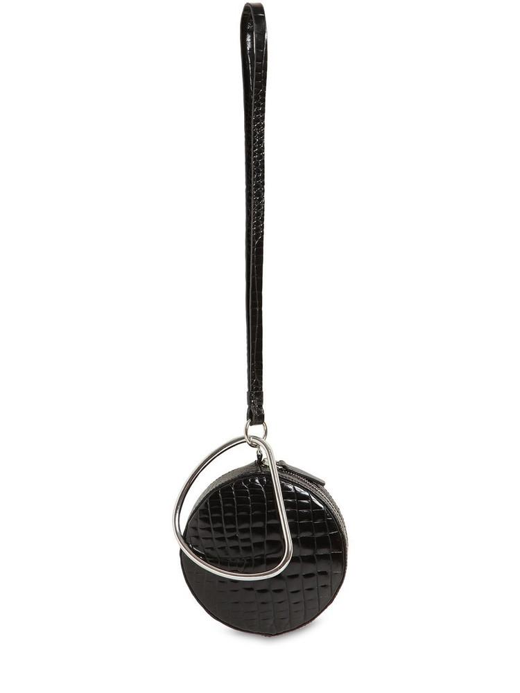 GU DE Circle Croc Embossed Leather Bag in black