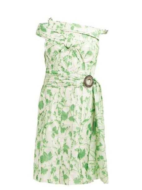 Calvin Klein 205w39nyc - Crystal Buckle Floral Print Taffeta Dress - Womens - Green White