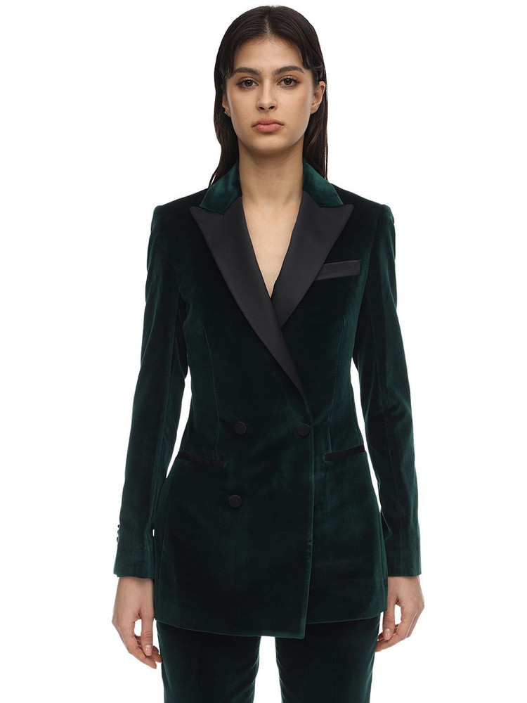 ELIE SAAB Double Breasted Velvet Blazer in green