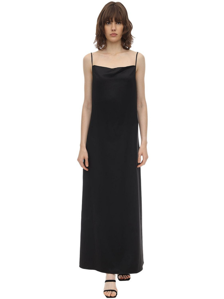 AÉRYNE Long Wrinkled Satin Cami Dress in black