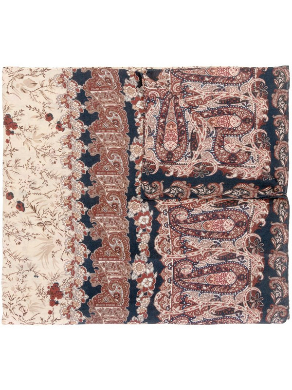 Colombo floral paisley cashmere scarf in brown