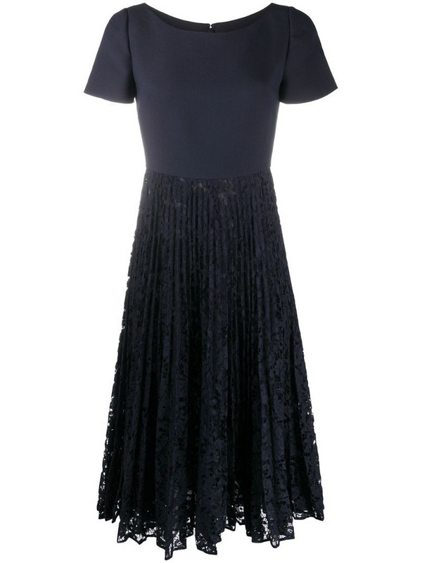 Valentino pleated lace-detail dress in blue