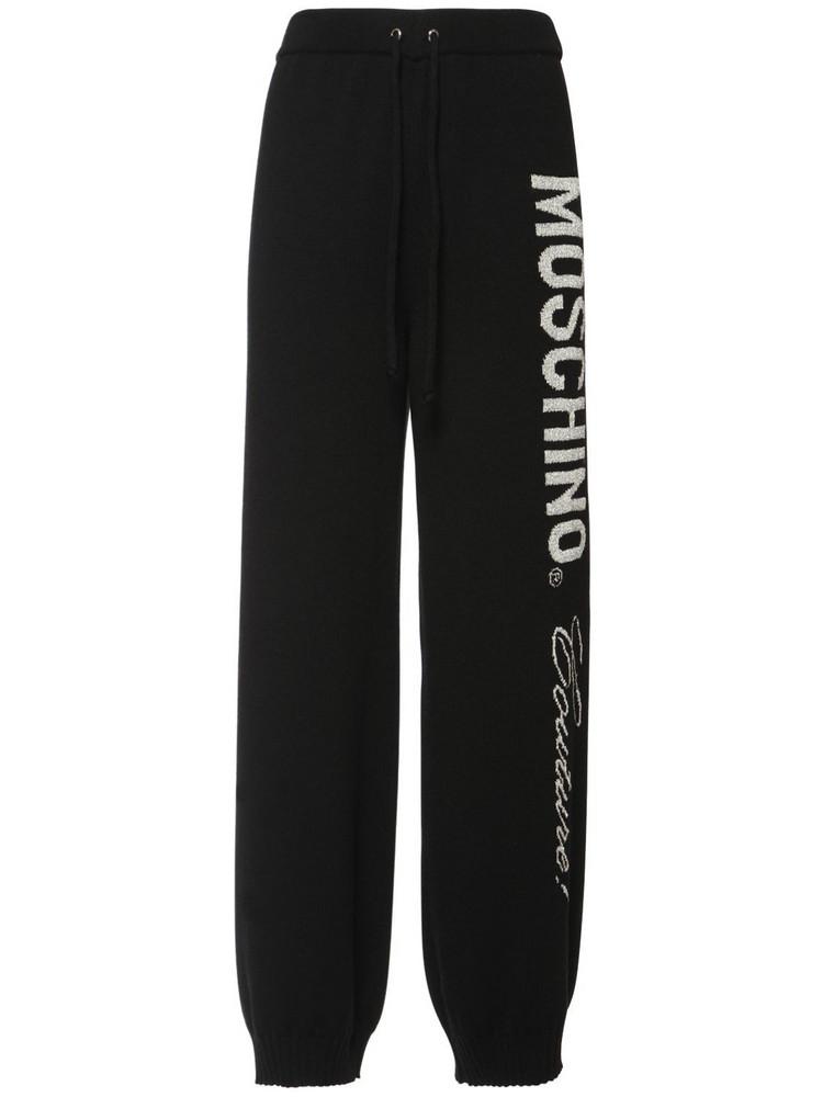 MOSCHINO Logo Intarsia Wool Pants in black