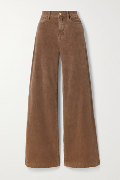 FRAME - Le Palazzo Wide-leg Cotton-blend Corduroy Pants - Light brown