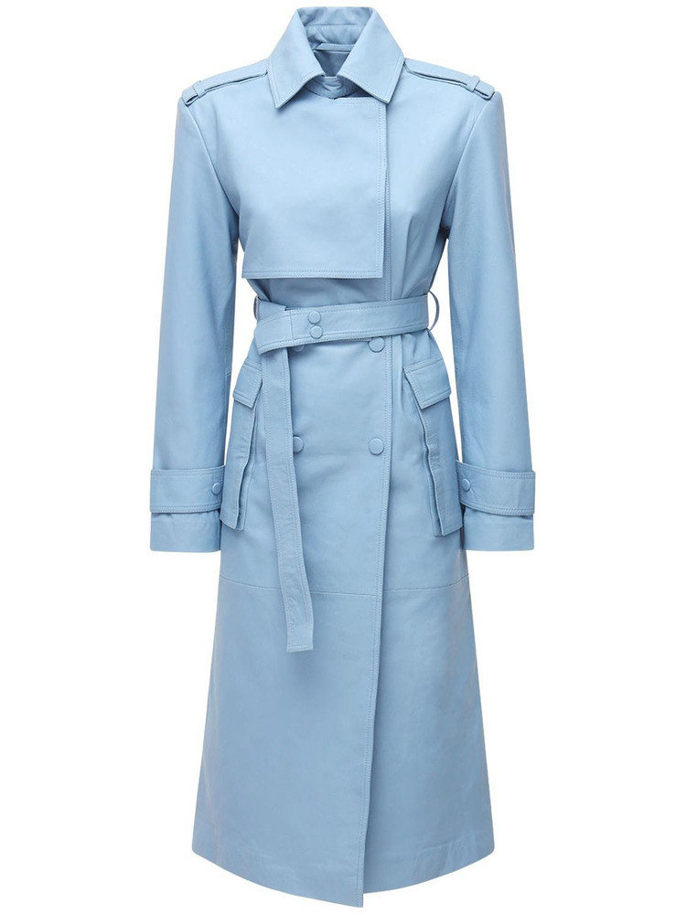 REMAIN Pirella Leather Trench Coat in blue