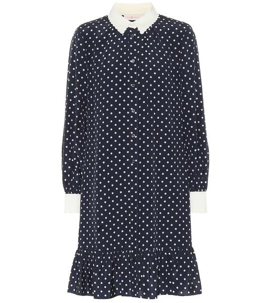 Tory Burch Cora dotted silk mini shirt dress in blue