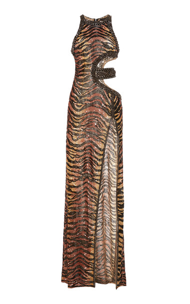 Dundas Sequined Tiger Cutout Gown