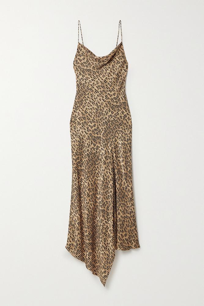 ALICE + OLIVIA ALICE + OLIVIA - Harmony Draped Leopard-print Satin-twill And Voile Dress - Animal print